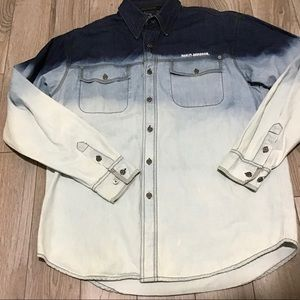 Harley-Davidson dip dyed ombré denim jean shirt M